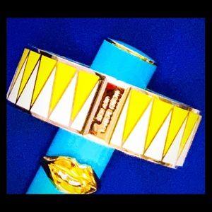 Henri Bendel yellow white enamel cuff bracelet